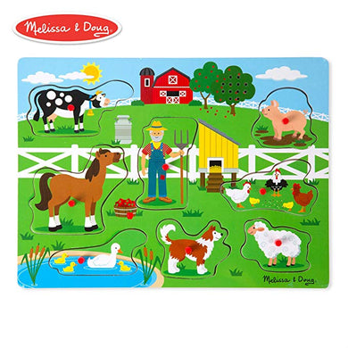 Old MacDonald's Farm Sound Puzzle (Musical Wooden Peg Puzzle, 8 Pieces)