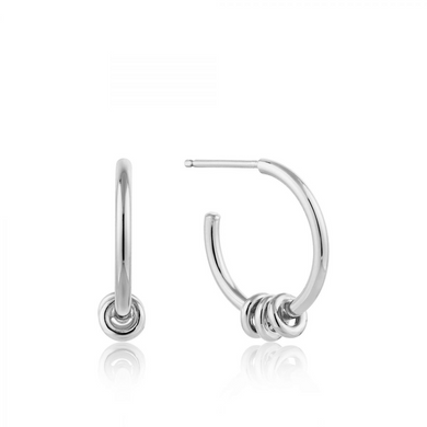 Modern Hoop Earrings-Silver