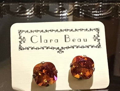 Clara Beau Swarovski Stud Earrings-Lt Smoked Topaz