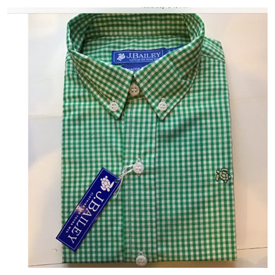 Roscoe Button Down-Kelly Green Check