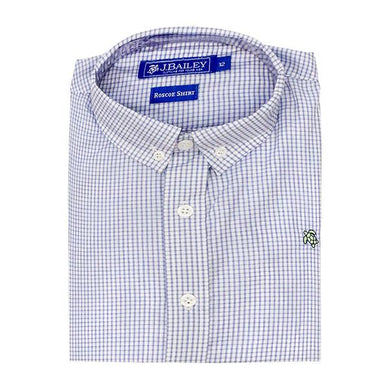 Roscoe Button Down Shirt- Blue and White Windowpane