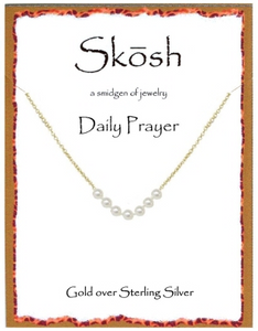 "Gold over Sterling 7 Pearl Daily Prayer Necklace-16"" + 2"" extension"