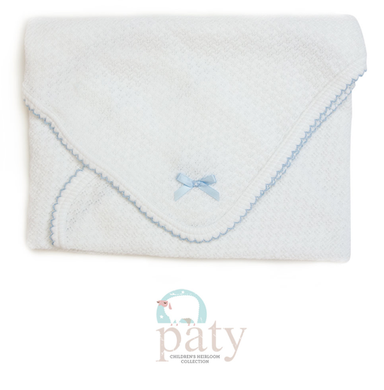 Paty Swaddle Blanket-White w/Blue Trim with Bow