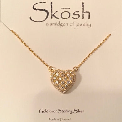 Skosh Gold Pave CZ Heart Necklace