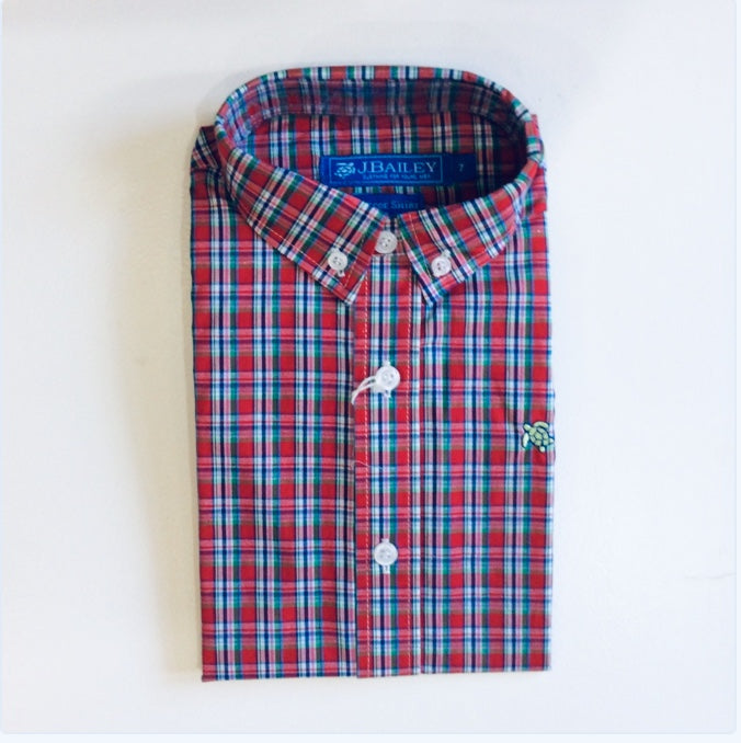 J Bailey- L/S Roscoe Button Down Shirt-Red Multi Plaid