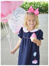 Load image into Gallery viewer, The Beaufort Bonnet Company-Holly Day Dress-Nantucket Navy w/Hamptons Hot Pink & Gift Applque