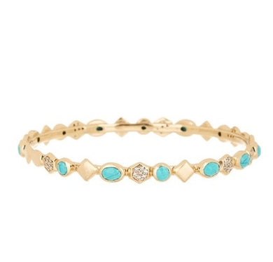 Graham Stone Bangle Turquoise White CZ