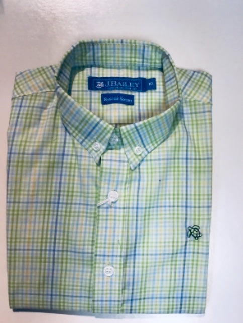 J Bailey-L/S Roscoe Button Down Shirt-Green Plaid