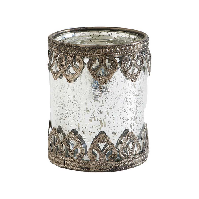 Mercury Glass Candleholder w/ Metal Filigree Trim (4.5 in. Or 6 in.)