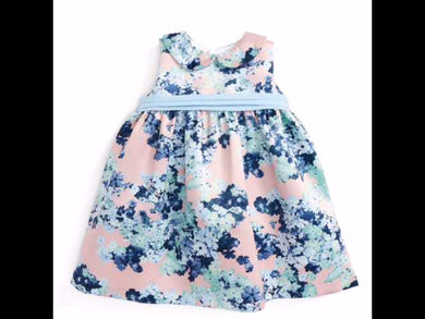 Dress-Blue Floral Satin