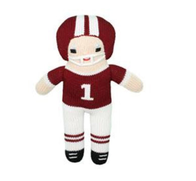 Maroon & White Football Player Rattle