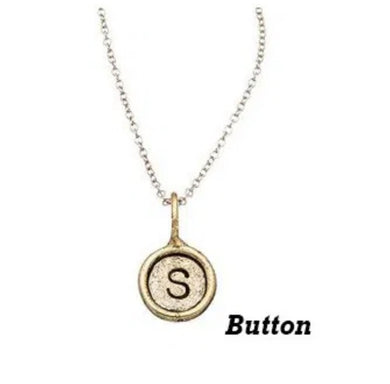 Button Initial Charms-Antique Gold
