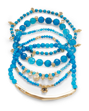 Load image into Gallery viewer, SALE-Supak Gold Beaded Bracelet Set In Veined Turquoise