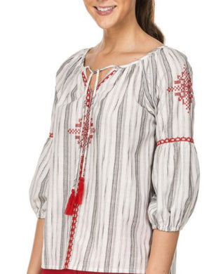 Peasant Bouffant Sleeve Top-Grey Stripe w/Red Embroidery