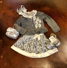 Load image into Gallery viewer, Mae Li Rose-Grey Knit Skirt w/Lace Overlay
