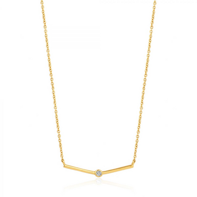 Shimmer Single Stud Necklace-Gold