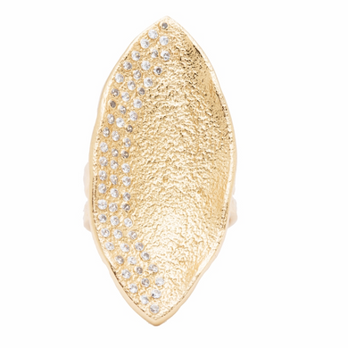 Mademoiselle Pod Ring Gold White CZ