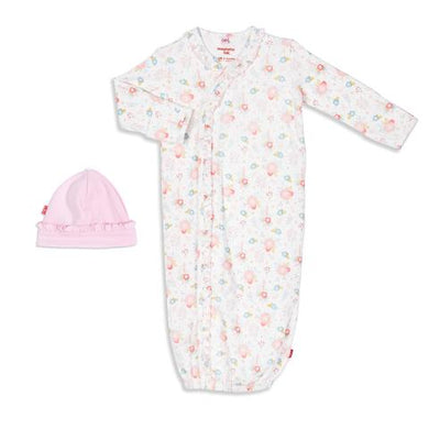 Magnetic Me-Nottingham Floral Organic Cotton Magnetic Gown & Hat Set