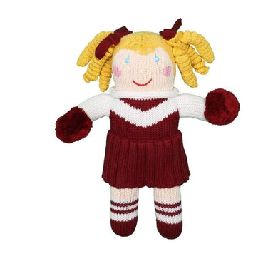 "Maroon & White 12"" Knit Cheerleader Doll"