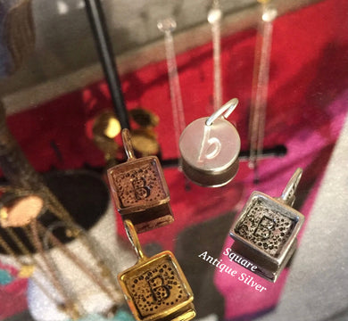 Square Initial Charms-Antique Silver