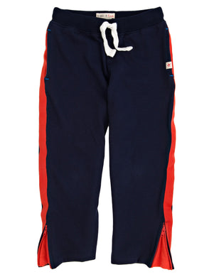 Hatley-Varsity Track Pant-Navy w/Orange Stripe