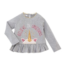 Load image into Gallery viewer, Mud Pie-Believe in Unicorns Sequins Ruffle Tee Pants Set-Grey