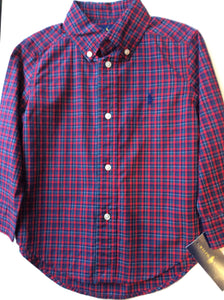 Ralph Lauren Polo-Button Down L/S-Red Multi
