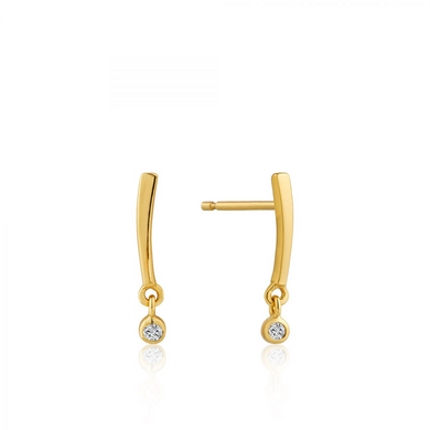 Shimmer Bar Stud Earrings-Gold
