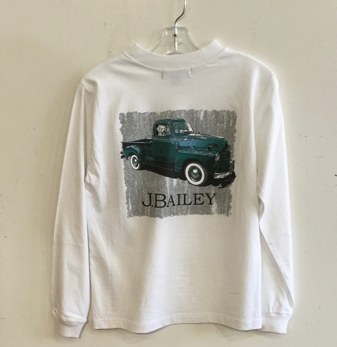 J Bailey-L/S Logo T-Shirt-Vintage Truck on White