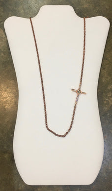 Diana Warner-Long Rosegold Stephanie Cross Necklace