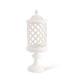 18 Inch White Ceramic Filigree Cylinder Shaped Container