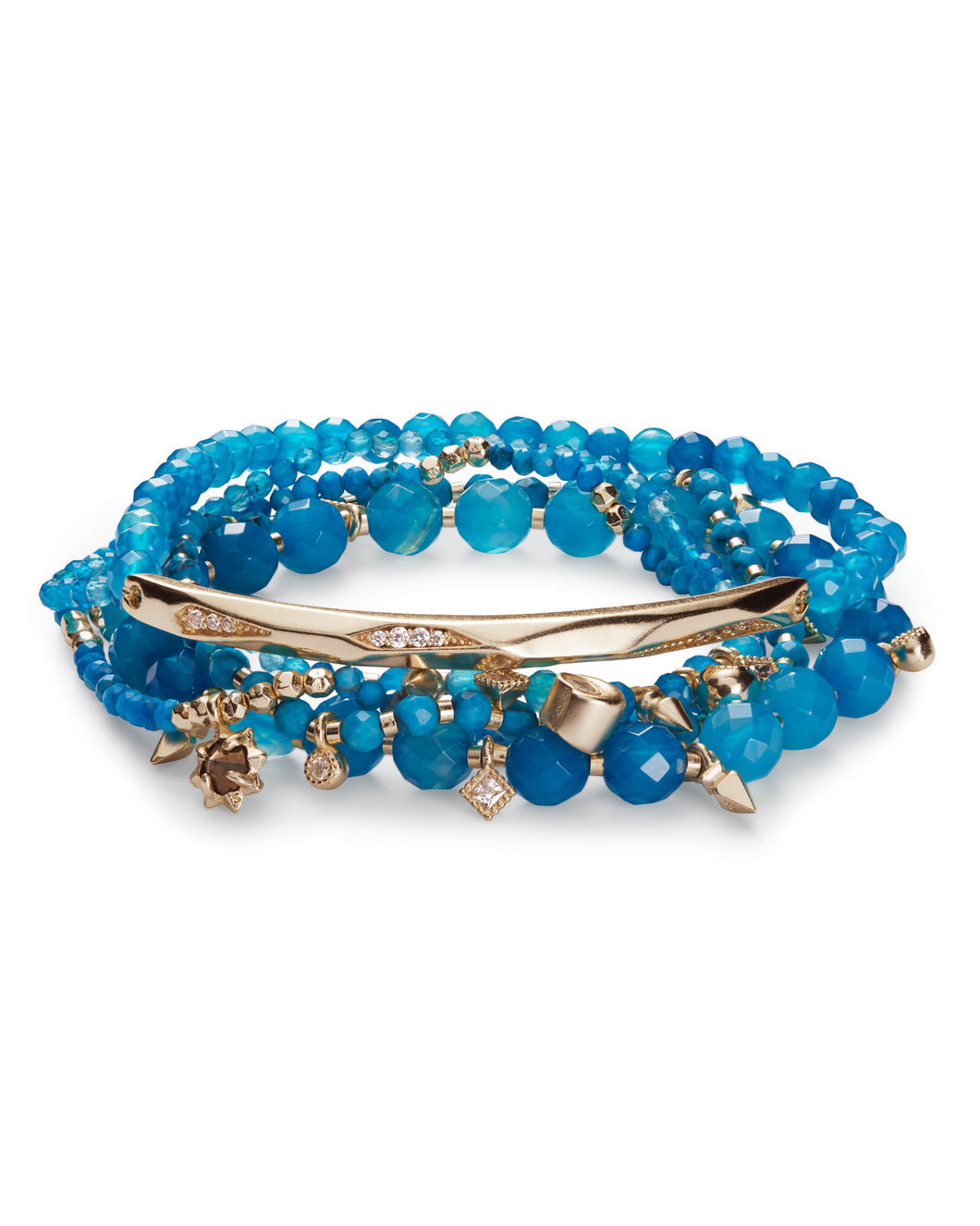 SALE-Supak Gold Beaded Bracelet Set In Veined Turquoise
