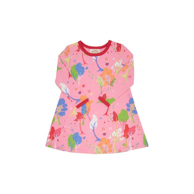 TBBC-Long Sleeve Polly Play Dress Fairfield Foliage with Richmond Red