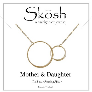 "Skosh Mother & Daughter Necklace-16"" + 1"" extension.-Gold overSterling Silver"