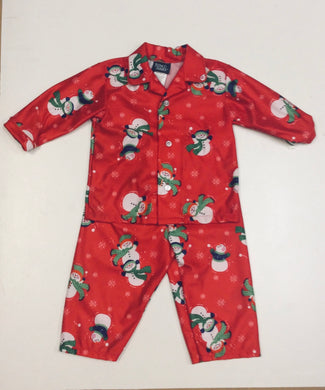 Tom & Jerry-Boys Red Snowmen Print Button-Up Pajama Set