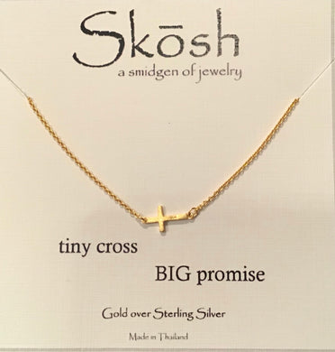 Skosh Tiny Cross Big Promise Necklace-Gold over Silver