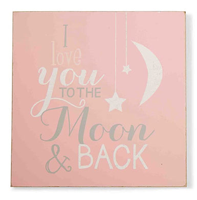 Mud Pie-Love You to the Moon and Back-Pink Wall Art