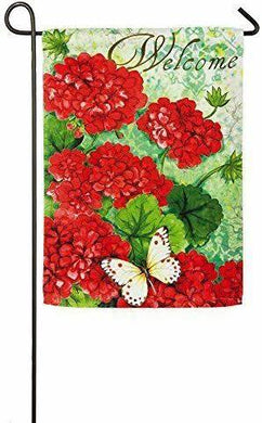 Garden Flag-Welcome Red Geraniums Double Sided Suede Reflections