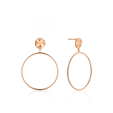 Ripple Front Hoop Earrings-Rose Gold