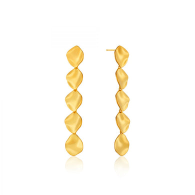 Crush Multiple Discs Drop Earrings-Gold