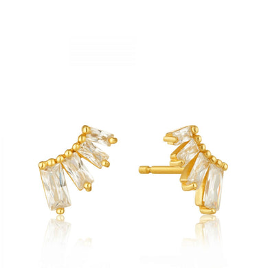 Glow Bar Stud Earrings-Gold
