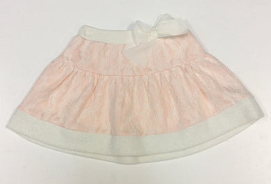 Mae Li Rose-Pink Knit Skirt w/Lace Overlay