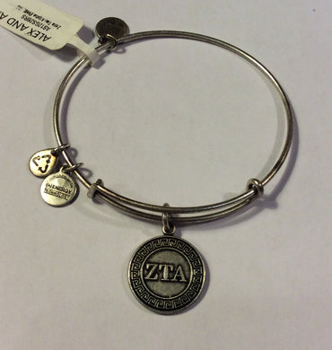 Zeta Tau Alpha-Sorority Charm Bangle-Silver
