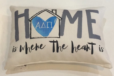 Alpha Delta Pi-Home is Where the Heart Pillow