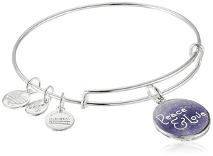 Art Infusion Peace and Love Bangle-Silver