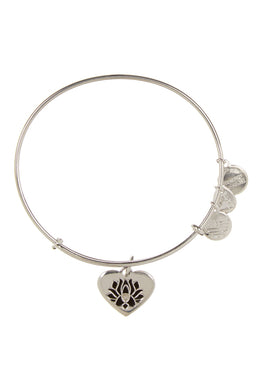 Lotus Peace Petal Heart Bangle-Silver