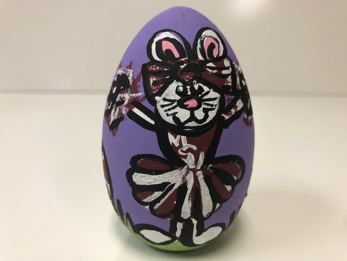 Painted Wooden Easter Egg-Cheerleader Bunny