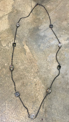 Diana Warner-Long Layering Necklace-Gunmetal w/Clear and Shadow Swarovski