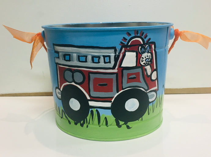 Painted Easter Bucket-Blue w/Bunny & Firetruck