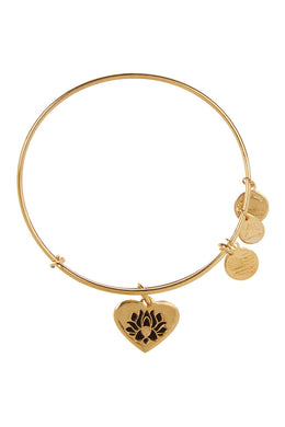 Lotus Peace Petal Heart Bangle-Gold